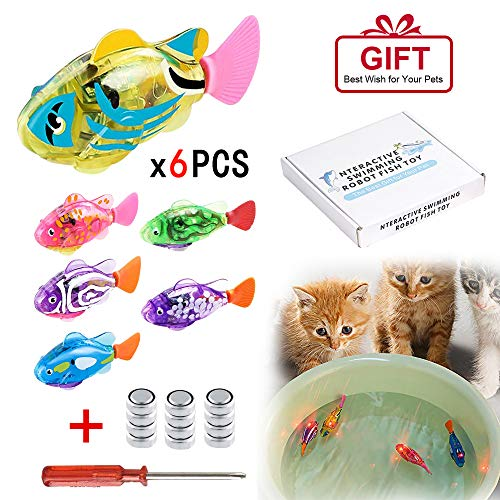 [2019 New] Interactive Swimming Robot Fish Toys for Cat/Dog(6 Pcs), Fish Tank Toy,Activated in Water with LED Light, Swimming Bath Plastic Fish Toy Gift to Stimulate Your Pet
