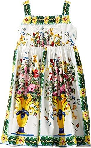 Dolce & Gabbana Kids Baby Girl's Caltagirone Vase Print Poplin Dress (Toddler/Little Kids) Floral Vase Print Dress by Dolce & Gabbana (Image #1)