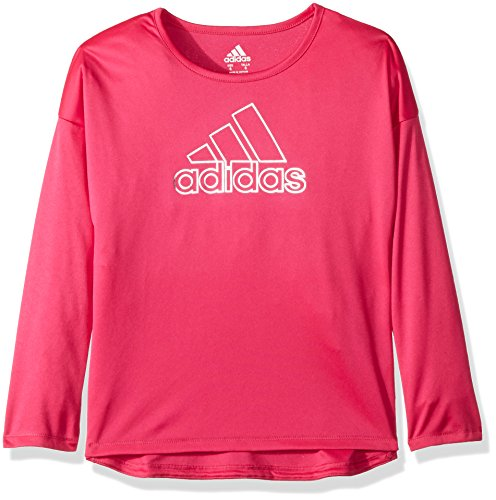 adidas Girls' Little Long Sleeve Logo Tee, Magenta, 6X