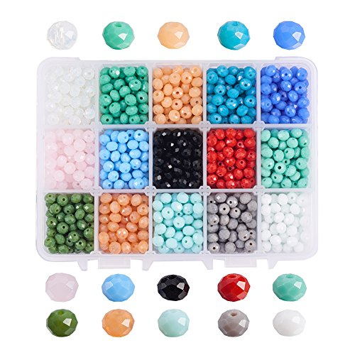 (PH PandaHall About 1500pcs 6mm 15 Color Briolette Faceted Glass Beads Abacus Gems Rondelle Loose Beads for Necklace Jewelry)