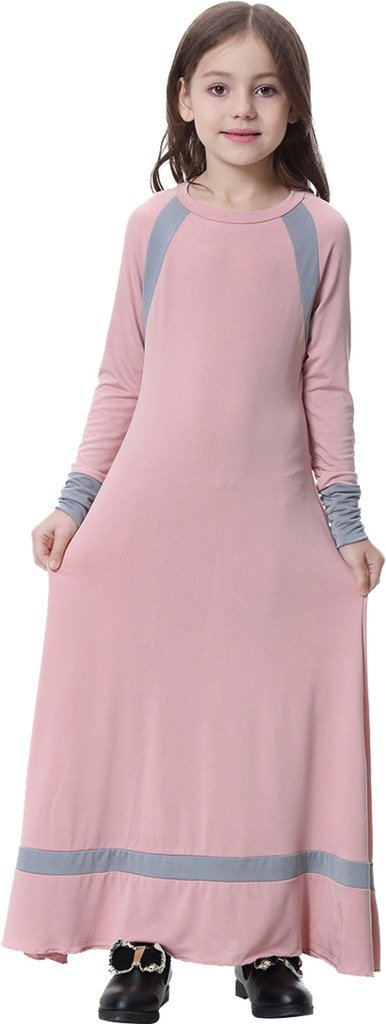 Ababalaya Muslim Islamic Girl's Soft O-Neck Full Length Long Maxi Runway Abaya Dress,Pink,XL Suitable for Height 4'7''