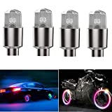 EnjoyULife 4pcs Car Tire Wheel Lights, Induction Valve Tire Light, Front and Rear Aluminum Wheel Valve Cap...