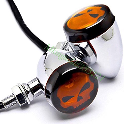 Motorcycle Silver Skull Lens Turn Signals Blinkers For Harley Davidson HD Sportster All Years (Harley Davidson Bulbs)