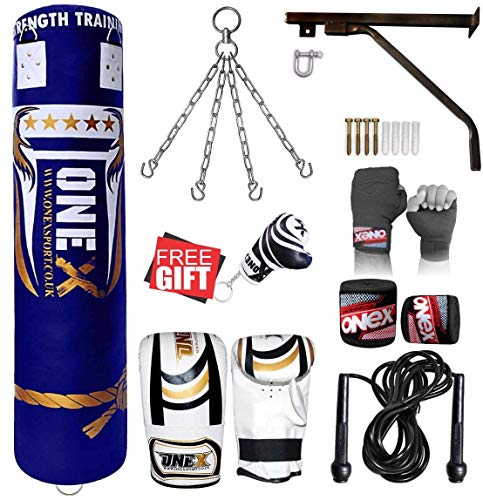 ONEX 17 Piece Boxing Set 5ft Filled Heavy Punch Bag Gloves,Chains,Bracket,Kick