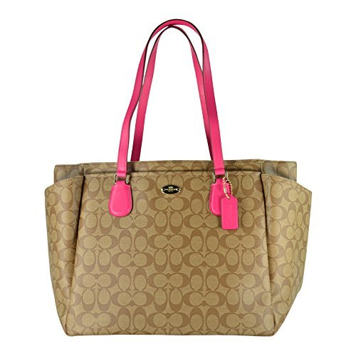 coach-signature-multifunction-tote-and-baby-diaper-bag-in-khaki-and-pink-ruby-by-coach