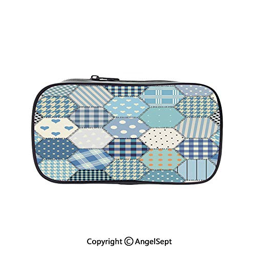 Pen Case Office College School Large Storage,Blue Toned Patchwork Hexagons Stitched Seem Quilt Pattern Retro Tile Image Decorative Multicolor 5.1inches,Box Organizer New -