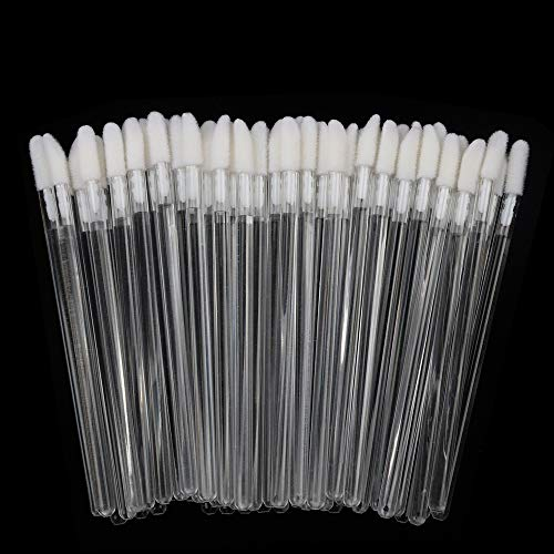 300 Pieces Disposable Lip Brushes Premium Lipstick Gloss Wands Applicator Makeup Tool Kits, Clear Handle