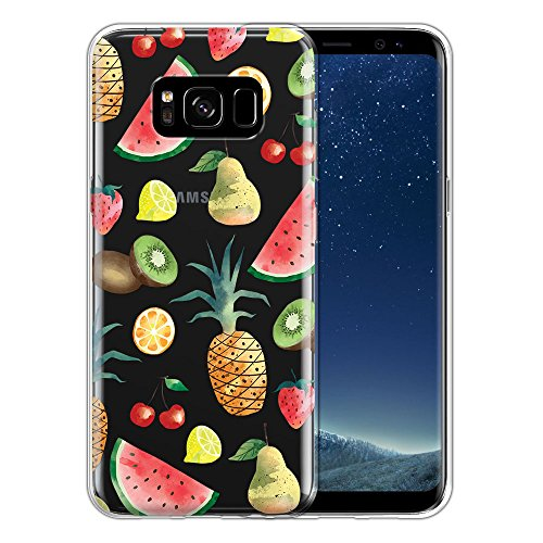 Samsung Galaxy S8 G950 5.8 inch Case, FINCIBO Clear Transparent TPU Silicone Protector Cover Soft Gel Skin for Samsung Galaxy S8 G950 5.8 inch, Fruit Salad