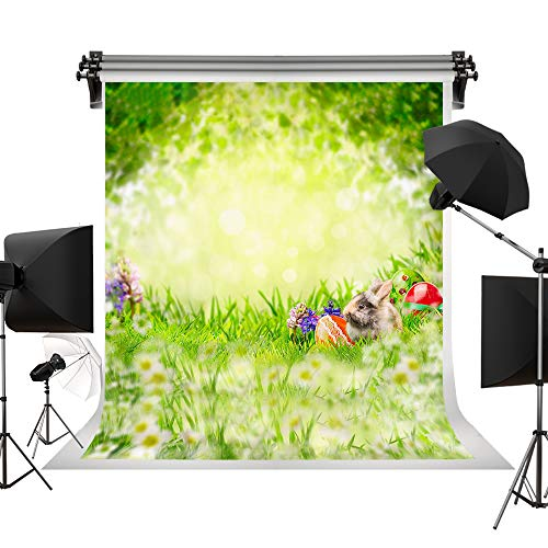 Kate 5x7ft/1.5x2.2m Spring Backdrop Easter Photography Props Easter Eggs Flowers Photo Studio Backgrounds Green Natural Scenery Cute Rabbit Backdrops for $<!--$32.00-->