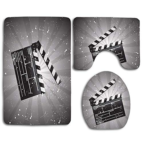 EnmindonglJHO Movie Theater Clapper Board on Retro Backdrop with Grunge Effect Director Cut Scene Cloth Grey Black White 3pcs Set Rugs Skidproof Toilet Seat Cover Bath Mat Lid Cover Cushions Pads Directors Home Theater Seat