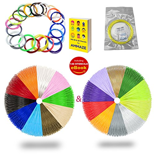 AMMAZE 3D PEN FILAMENT REFILLS 1.75mm ABS 361 Linear Feet 140 STENCILS 22 Colors 3D Printing Plastic (4 FLUORESCENT & 2 GLOW IN THE DARK) Individually Vacuum-Sealed For Doodle Arts - Discount Very Voucher