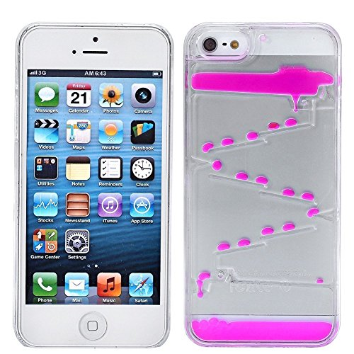 iPhone 5 5S Case,New Design Water Drop Shape Flowing Liquid Magic Maze Transparent Hard 3D Liquid Cover Back Shell for iPhone 5 5S - Hot Pink (Phone Case I 5s Magic Mobile)