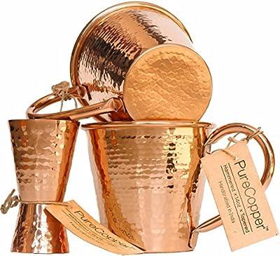 Set of 2 100% Copper Mugs - 14oz Hammered Tapered Moscow Mule Mugs - BONUS Jigger!
