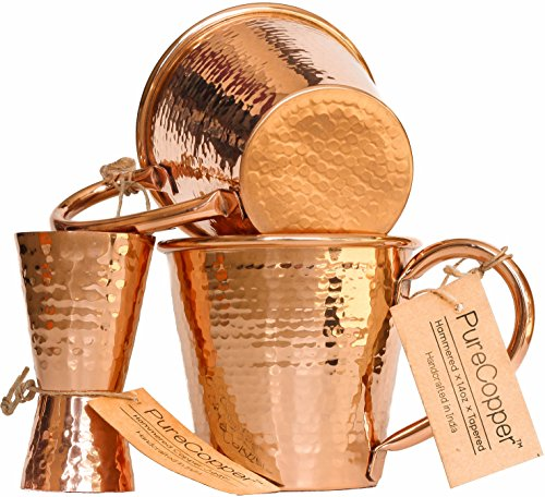 Set of 2 100% Copper Mugs - 14oz Hammered Tapered Moscow Mule Mugs - BONUS Jigger! - Tapered Shot Glass