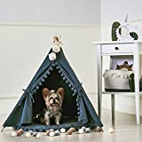 MY MARKET Pet Teepee House Fold Away Pet Tent Furniture Cat Bed With Cushion 28 Inch Grey One