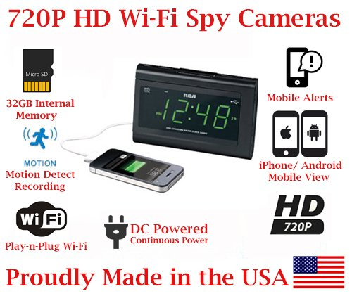 SecureGuard 720p HD WiFi Wireless IP Alarm Clock Radio Hidden Security Nanny Cam Spy Camera with 32GB Internal Memory