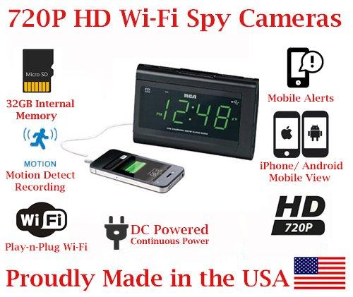 SecureGuard 720p HD WiFi Wireless IP Alarm Clock Radio Hidden Security Nanny Cam Spy Camera with 32GB Internal Memory