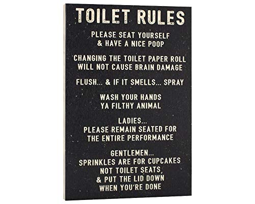 Elegant Signs Toilet Rules Sign Funny Bathroom Decor - Please Seat Yourself and Have a Nice Poop - Wash Your Hands Ya Filthy Animal