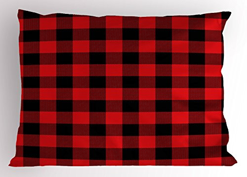 Plaid Pillow Sham by Ambesonne, Lumberjack Fashion Buffalo Style Checks Pattern Retro Style with Grid Composition, Decorative Standard King Size Printed Pillowcase, 36 X 20 Inches, Scarlet Black (Check Sham)