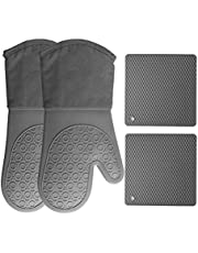 HOMWE Silicone Oven Mitts and Pot Holders (4-Piece Set) Heavy Duty Cooking Gloves, Kitchen Counter Safe Trivet Mats   Advanced Heat Resistance, Non-Slip Textured Grip(Gray)