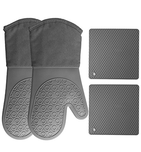 HOMWE Silicone Oven Mitts and Pot Holders (4-Piece Set) Heavy Duty Cooking Gloves, Kitchen Counter Safe Trivet Mats | Advanced Heat Resistance, Non-Slip Textured Grip(Gray) - Oven Glove Set