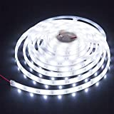 LEDMY 5PCS DC24V Flexible Led Strip Light Adhesive led Tape SMD5050 150leds IP67 Waterproof String Light Used in Commercial, Project, Home and Outdoor (Cool White 6000K) 16.4FT/5M
