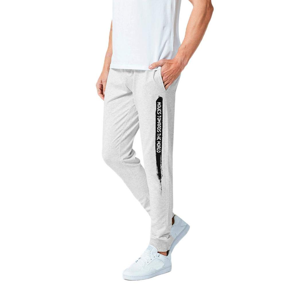 Realdo Clearance Mens Casual Slim Personality Solid Elastic Letter Sports Run Jogger Pants Trousers(Small,Gray)