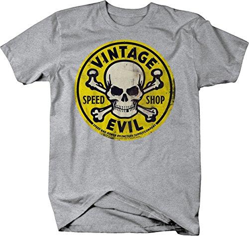 Vintage Evil Speed Shop Skull Crossbones Yellow Racing Hotrod Tshirt - XLarge ()