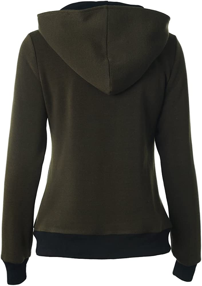 Womens Jacket Full zip Sweatshirt Hoodies with Decorative Buttons Army Green XXS