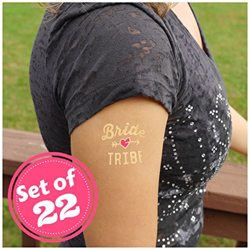 Bride Tribe Temporary Tattoos, Gold Metallic and Pink (set of 22) (Tribal Print Tattoos)