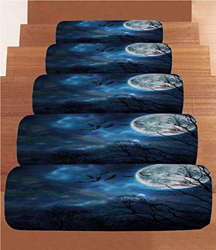 iPrint Non-Slip Carpets Stair Treads,Halloween,Bats Flying in Majestic