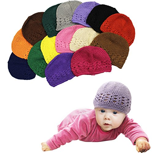 Baby Hats - 6 Pack Knit Hats for Babies - Beautiful Baby Gift Crochet Beanies by CoverYourHair