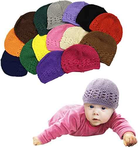 bc3d6387777 CoverYourHair Baby Hats - 6 Pack Knit Hats for Babies - Beautiful Baby Gift  Crochet Beanies