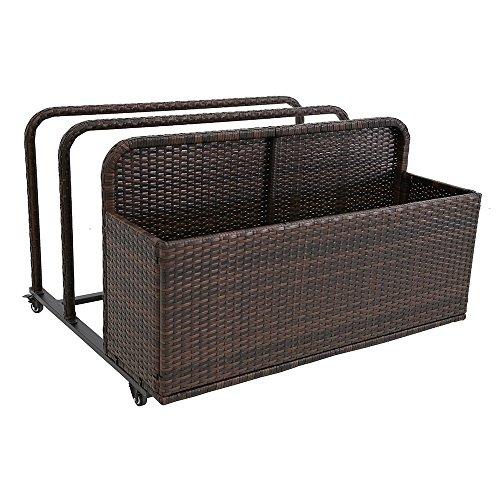 (Modern Home Spa Resort Woven Wicker Pool Float Storage Organizer)