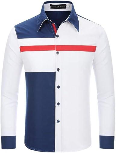 Costura Tricolor Casual par Delgado Masculino de Contraste Color Camisa de Moda Blanco 2XL: Amazon.es: Ropa y accesorios