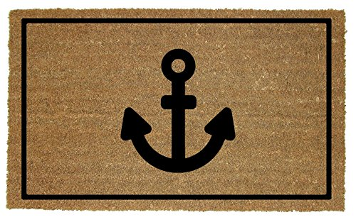 Cruise On Large Coir Door Mat - Anchor Design
