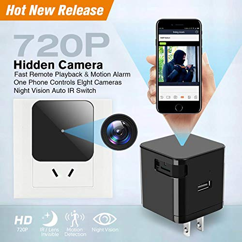 Hidden Camera WiFi Wall Charger Spy Cam Plug with Night Vision Spy USB Camera 720P Hidden Wireless with Motion Detection for iOS and Android Phone