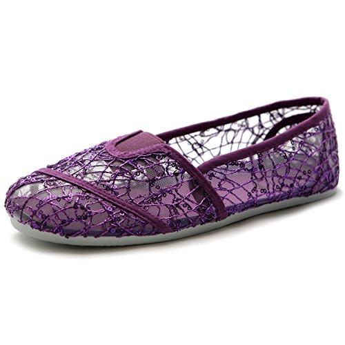Breathable Flat Ballet Slip Shoe Ollio On Spangle Lace Purple Womens nqF8a0wO