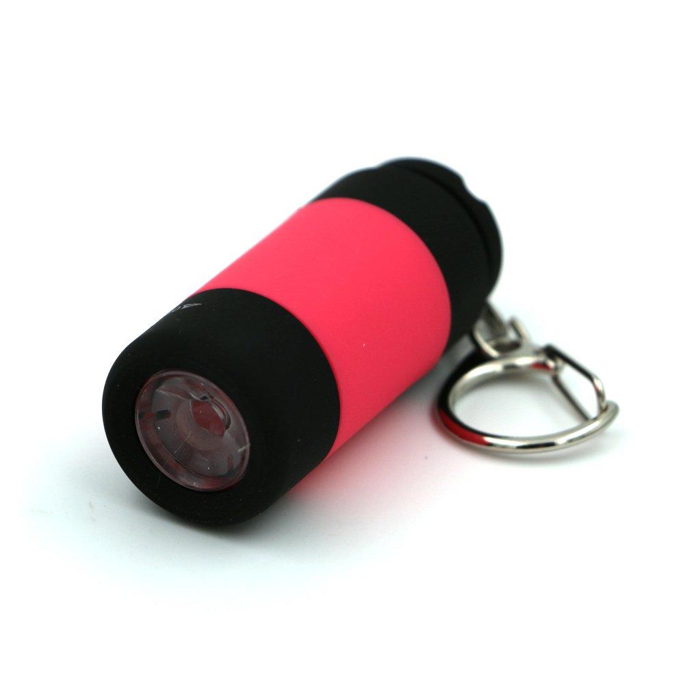 Mini LED Keyring Torch,Tuipong Portable Mini Torch USB Rechargeable Keyring Lights Pocket Keychain Keyring Flashlight Light Gift for Him/Her - Pink