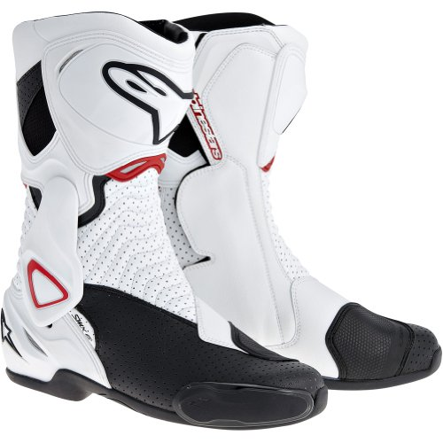 (Alpinestars SMX-6 Men's Motorcycle Street Boots Vented (White/Black/Red, EU Size 36))