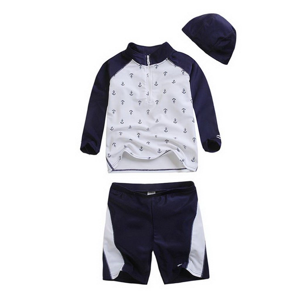 Cool Navy&White Boys Swimsuit Long Sleeve Two Piece Beach Wear, 12T,6-8Years Old