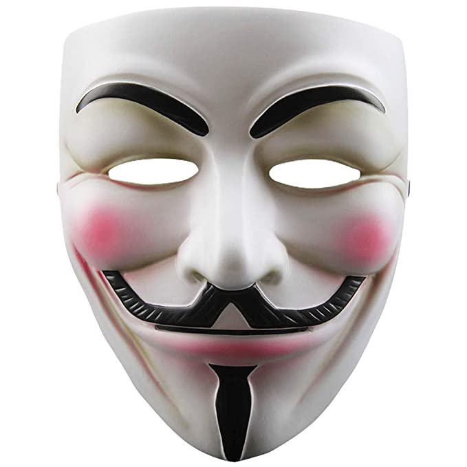 Full Face Black White Costume Classic Anonymous Mask Halloween Prop Masquerade