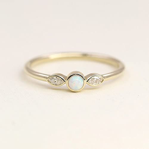 Simple Wedding Ring.Amazon Com Natural Opal Wedding Band 14k Gold Tiny Opal Ring