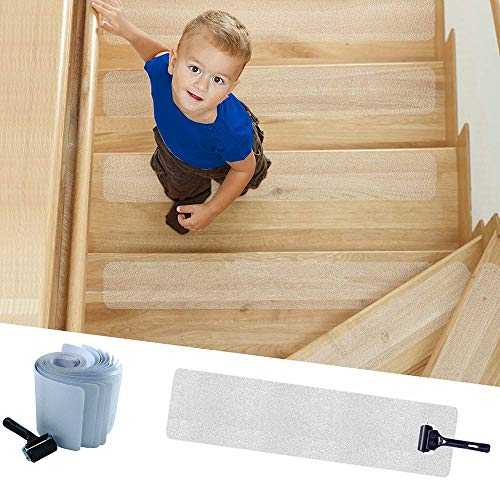 """KATARUS 32""""x4"""" Stair Treads Non-Slip Indoor Clear Tape Pre Cut Transparent Anti Slip Adhesive Wood Stair Treads with Roller, Safe Strips for Kids, Elders and Pets, PVC Free (15 Pack)"""