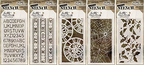 Tim Holtz Stencils Set - #11 to #15 - Schoolhouse, Measured, Clockwork, Shatter & Holly Bough - 5 Item Bundle (Letter Designs For Halloween)