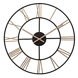 20 Black and Gold Metal Cut Out Roman Numeral Wall Clock