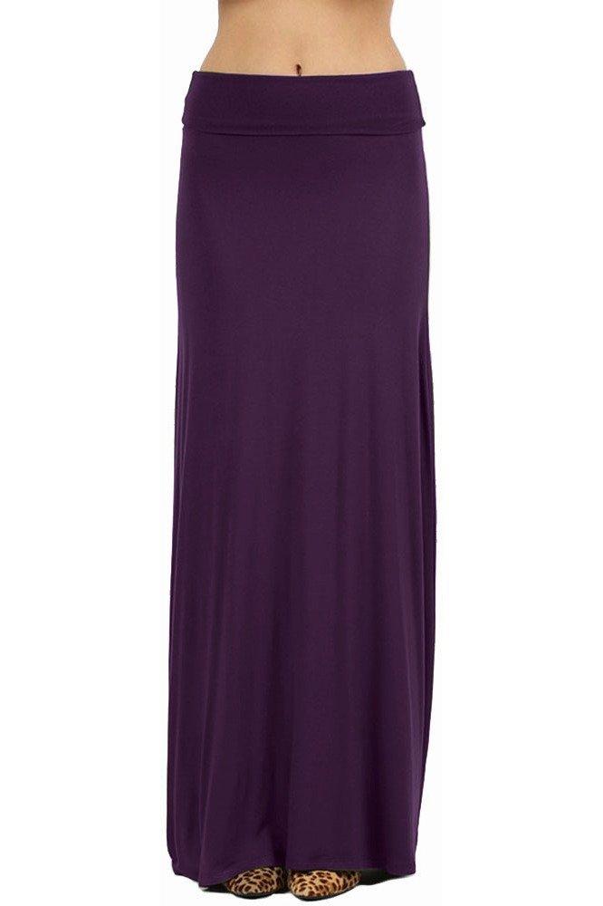 NioBe Clothing Womens Solid Long Draped Maxi Skirt (Large, Dark Purple)