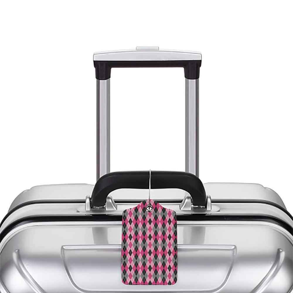 Durable luggage tag Abstract Argyle Motif with Diamonds and Lozenges Infinite Symmetric Stripes Image Unisex Baby Pink Black Grey W2.7 x L4.6