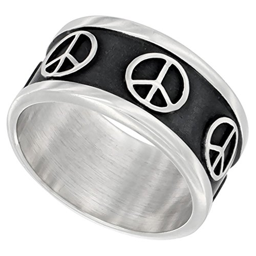 Sterling Silver Peace Sign Ring Southwestern Design Handmade 5/16 inch wide, size 12