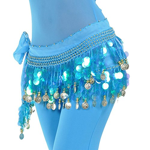 [DQdq Women's Belly Dance Chiffon Hip Scarf Waist Chain with Coins Light Blue] (Made To Measure Belly Dance Costumes)